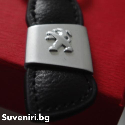 Пежо - луксозен ключодържател, изработен от кожа