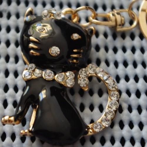 Котенце - черен ключодържател в златисто с кристали